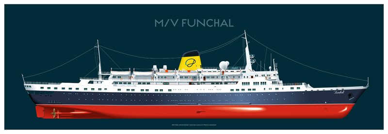 ship vector drawing profile cunard illustration artwork marine art
