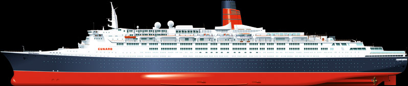 QE2 ship vector drawing profile cunard illustration artwork marine art