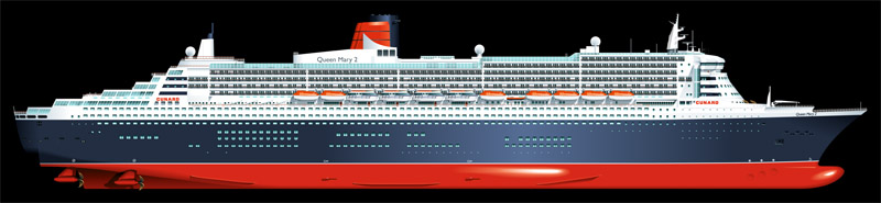 QM2 ship drawings vector profile graphic design Cunard