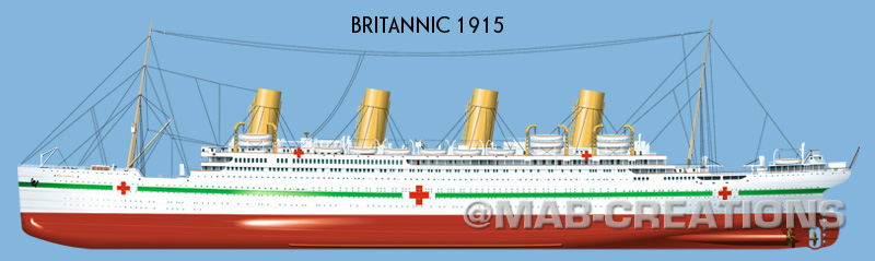 white star line britannic profile drawing