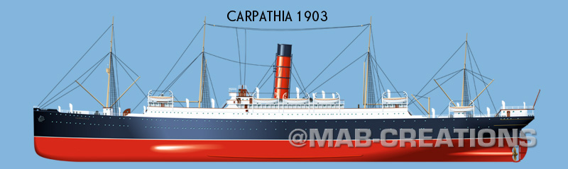 cunard carpathia titanic profile drawing