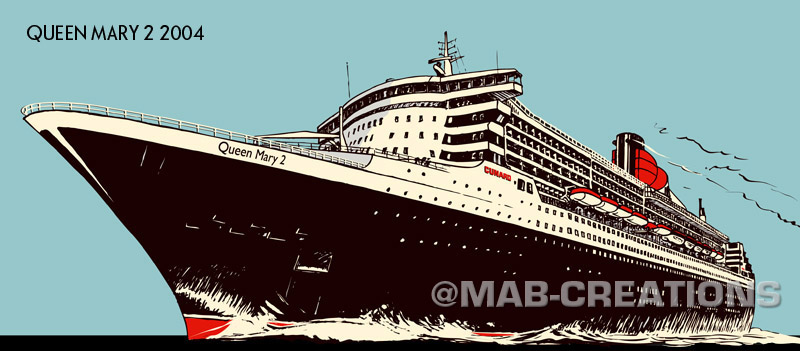 Queen Mary 2 art deco style drawing