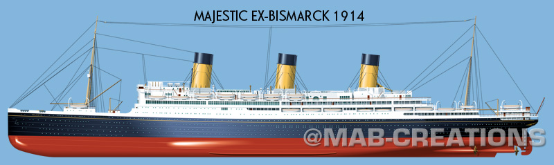 white star line majestic bismarck drawing profile illustration