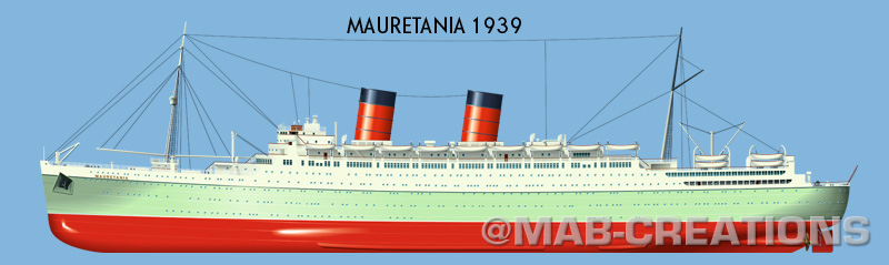 cunard mauretania 2 1939 profile drawing