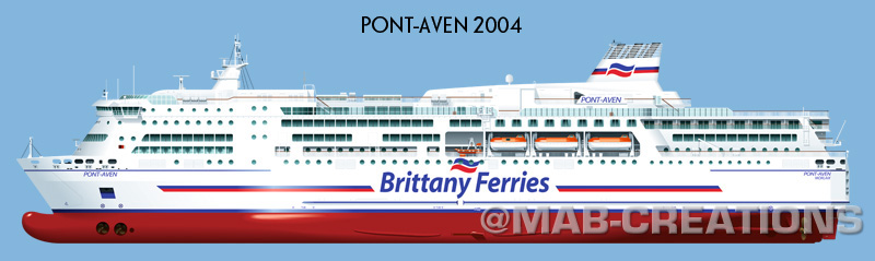 brittany ferries pont-aven profile drawing dessin profil