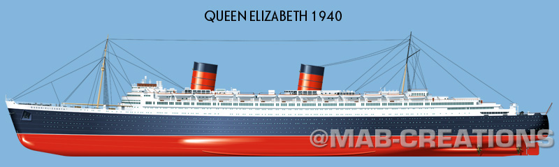 original cunard queen elizabeth profile drawing