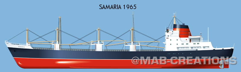 samaria cunard cargo ship profile drawing