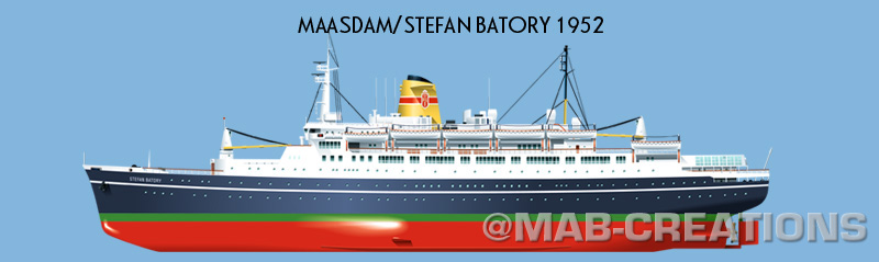 stefan batory polish ocean liner profile drawing